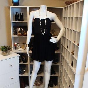 AARON ASHE BLACK STRAPLESS SILK DRESS XS